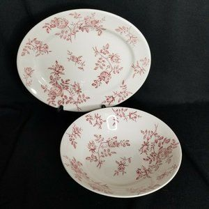 Churchill England Antique Rose Pink Oval Platter a